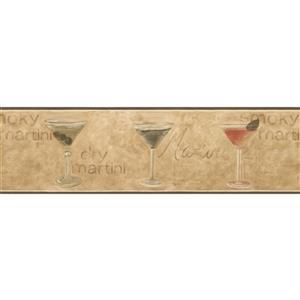 Retro Art Martini Recipe Wallpaper Border - Beige