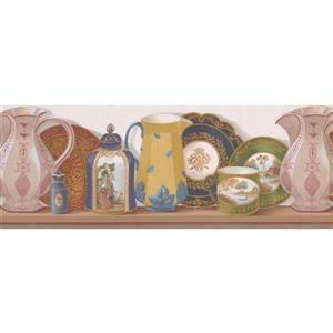 Retro Art Vintage Plates and Pots Wallpaper Border - Multicolour