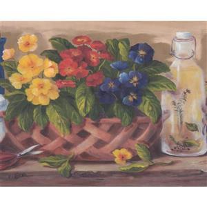 Retro Art Flowers in Pots Kitchen Wallpaper Border