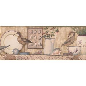 Retro Art Birds and Seashells Wallpaper Border - Beige