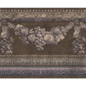 Retro Art Fruits on Vine Damask Kitchen Wallpaper - Brown