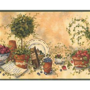 Retro Art Fruit Kitchen Wallpaper Border - Beige/Green