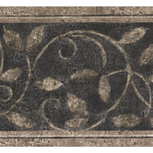 Norwall Abstract Damask Wallpaper Border Beige Black Lowe S Canada
