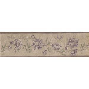Retro Art Vintage Floral Wallpaper Border - Purple/Beige
