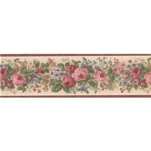 Norwall Bloomed Roses Floral Wallpaper Border - Pink/Beige