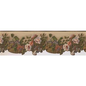 Norwall Vintage Flowers and Grapes in Baskets Wallpaper - White