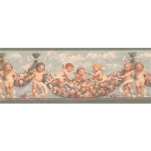 Retro Art Babies in Heaven Wallpaper Border - Pink/Yellow
