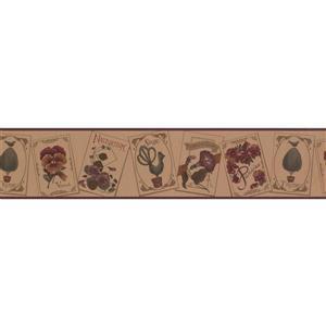 Retro Art Educational Floral Wallpaper Border - Brown