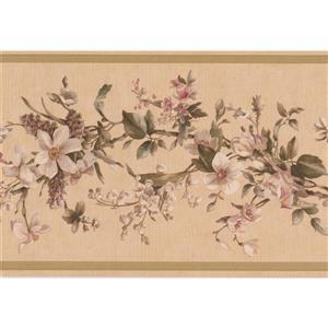 Retro Art Floral Wallpaper Border - Beige/White
