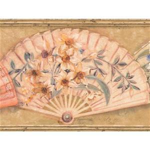 Retro Art Folding Fan with Flowers Vintage Wallpaper - Pink/Beige