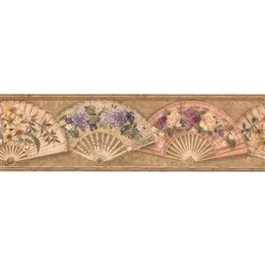 Retro Art Folding Fan with Flowers Vintage Wallpaper - Brown