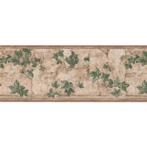 York Wallcoverings Green Leaves on Branches Floral Wallpaper Border - Beige