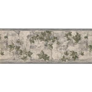 York Wallcoverings Green Leaves on Branches Floral Wallpaper Border - Grey