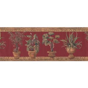 York Wallcoverings Green Plants in Pots Wallpaper Border - Crimson