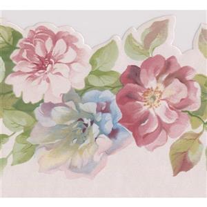 Norwall Roses on Vine Wallpaper Border - Pink/Blue
