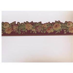 Norwall Roses on Vine Wallpaper Border - Pink/Yellow