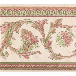 Retro Art Vines Damask Wallpaper Border - Green/Brown