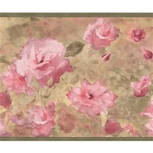 Retro Art Wild Roses Floral Wallpaper Border Roll - Pink