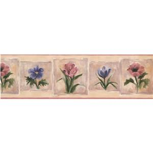 Norwall Flowers on Paintings Wallpaper Border - Blue