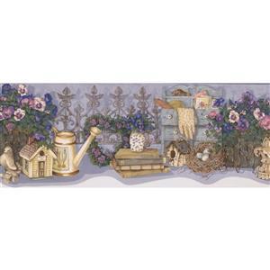 Retro Art Flower Garden Farmhouse Wallpaper - Blue/Purple