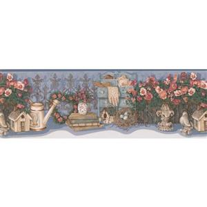 Retro Art Flower Garden Farmhouse Wallpaper Border