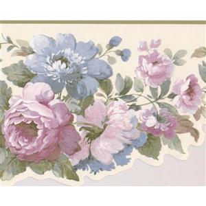 York Wallcoverings Floral Bouquet Wallpaper Border - Pink/White