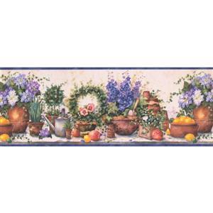 Chesapeake Flowers in Pots Farmhouse Wallpaper Border - Purple