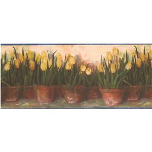 Chesapeake Tulips in Pots Wallpaper Border - Yellow