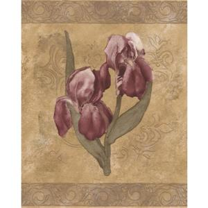 Retro Art Floral Wallpaper Border - White/Purple