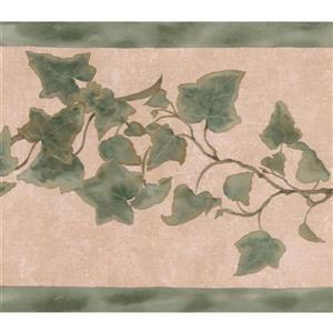 Retro Art Green Leaves on Vine Wallpaper Border - Beige