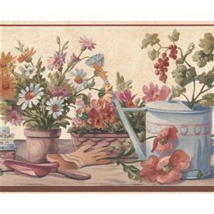 Retro Art Flowers in Pots on Bench Farmhouse Wallpaper