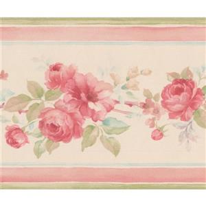 Norwall Roses Floral Wallpaper Border - Pink/Beige