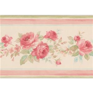 Norwall Roses in Bouquet Floral Wallpaper Border - White