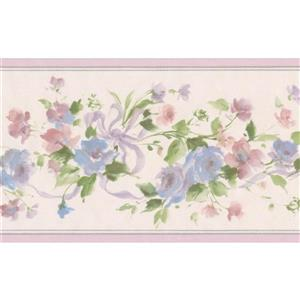 Norwall Flowers on Vine Floral Wallpaper Border - Blue/Pink
