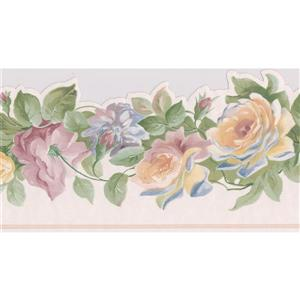 Norwall Roses on Vine Floral Wallpaper Border - Yellow/Pink/Purple