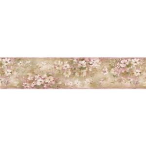 Norwall Floral Vintage Wallpaper Border - White/Pink