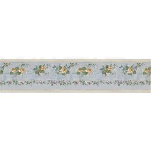 Norwall Bloomed Roses on Vine Wallpaper Border - Yellow/Teal