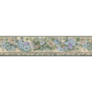 Norwall Blooming Flowers Wallpaper Border - Teal/Purple/Beige