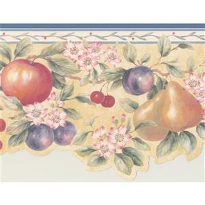 Retro Art Fruits on Branches Wallpaper Border