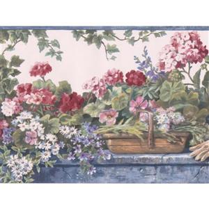 Retro Art Flowers in Nursery Floral Wallpaper Border - White