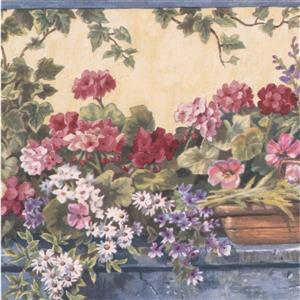 Retro Art Flowers in Nursery Floral Wallpaper Border - Beige