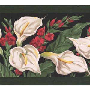 Retro Art Calla Lily Floral Wallpaper Border - White