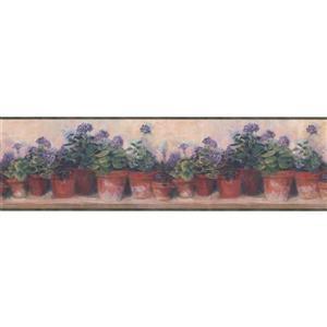 Chesapeake Flowers in Pots on Bench Wallpaper Border - Beige/Violet
