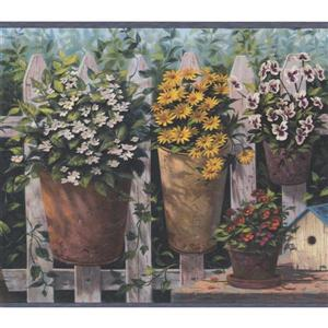 Chesapeake Flowers in Pots Country Wallpaper - Multicolour