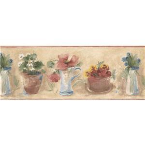 Norwall Flowers in Pot Vase Floral Wallpaper - Multicolour