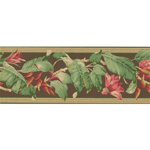 York Wallcoverings Flowers on Vine Wallpaper Border - Pink/Brown