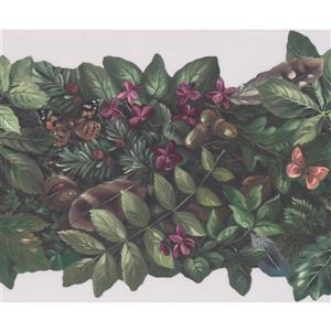 Retro Art Floral Wallpaper Border - Purple