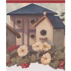 Retro Art Birdhouses Floral Wallpaper Border - White