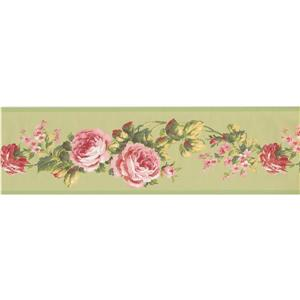 York Wallcoverings Floral Wallpaper Border - White/Pink/Green