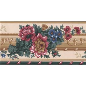 Retro Art Floral Victorian Wallpaper Border - Blue/Brown